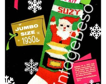 INSTANT DOWNlOAD • PdF Pattern • STOCKING Pattern • 1950s Bucilla #7712 • Vintage Knitting Pattern • Retro Christmas Knitting Pattern • Suzy