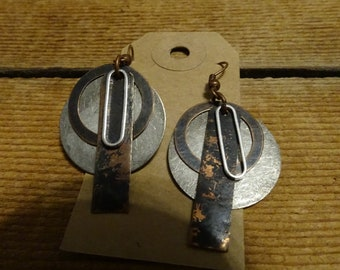 Silver and Copper mixed media earrings