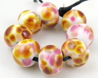 Strawberry Caramel SRA Lampwork Handmade Artisan Glass Donut/Round Beads READY to SHIP Set of 8 8x12mm