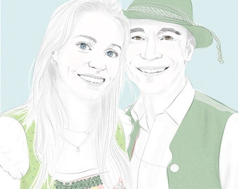 Personalized portrait for couples, drawing download