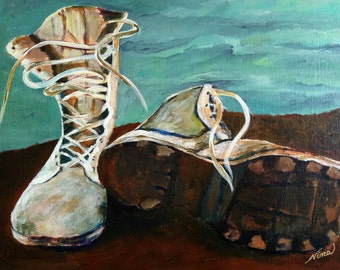 Acrylic Artwork, Original, Military Boots, Military, canvas board, 20 in. x 16 in.