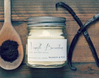 Vanilla Bourbon Mason Jar Soy Candle | Vanilla Candle | Phthalate Free | Hostess Gift