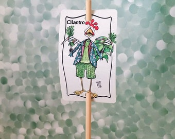 Garden Sign Cilantro Herb Metal Sign on Bamboo Stake UV Protected Against Fading 2x3 sign 12 inch stake Customizable