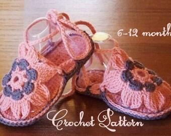 Booties  baby crochet pattern Booties girl crochet Sandals girl crochet Summer booties crochet Pink booties crochet pattern PDF English