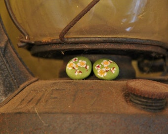 Green and Flower Cloth Printed Round Button Stud Earring!