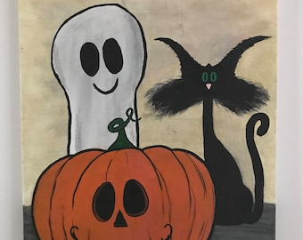 Cute Ghost and Cat Halloween Canvas Painting