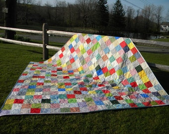 Free US Shipping--Patchwork Quilt--Queen Size--Classic Americana--93 X 93--made to order