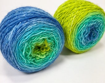 baby cakes ombre gradient sock yarn- hand dyed, fingering weight, superwash- Cool Vibes, Cool Pops#6!,  blue, teal, chartreuse