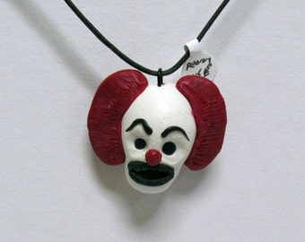 OOAK Handmade PENNYWISE Necklace Stephen King IT Clown Halloween Movie Monster Creature Creepy Scary