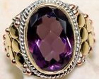 Reduced 20% Bold BOHO 6 CT Amethyst Ring Sterling Silver Size Size 7.5