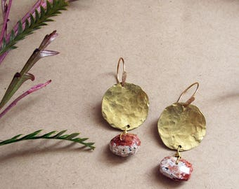 Forest Depths Earrings - Petrified Wood Earrings - Brass Circle Rustic Red Earrings - Lightweight Earrings