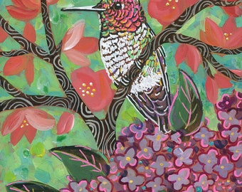 "6x6 inch Archival Print on Wood  ""Spring Hummingbird #2"""