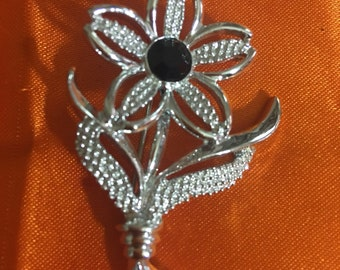 Vintage Sarah Coventry Brooch Pin Silver Tone Flower