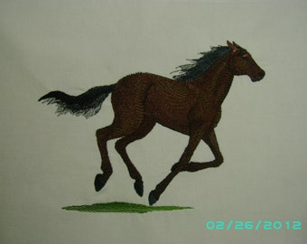 Thoroughbred horse embroidered quilt square