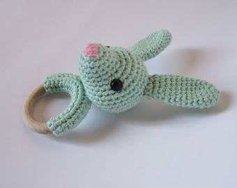 Teething ring Benny The light mint green Rabbit