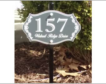 Custom House Number & Street Name Lawn Sign - Two Sizes - FREE SHIPPING