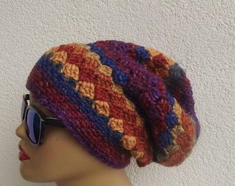 crochet beret slouchy beret winter hat, beret beanie  winter thick hat beret wool beret colorful beret slouchy beret free shipping beret