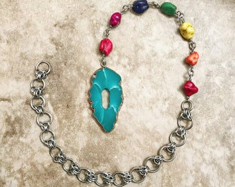 Rainbow Stone Chakra Pendulum with Aluminum Chain and Teal Blue Pendant