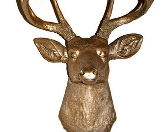 Deer Head Wall Mount - Metallic Caramel - Deer Head Antlers Faux Taxidermy D2525