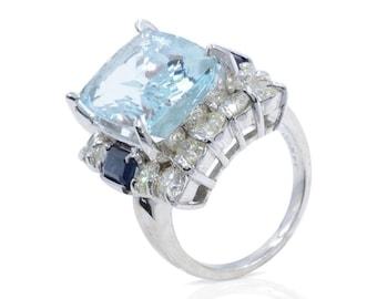 Handmade Aquamarine Sapphire Diamond Large and 14k White Gold Ring