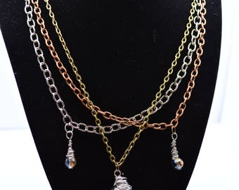 Rock and Gem Triple Chain Necklace