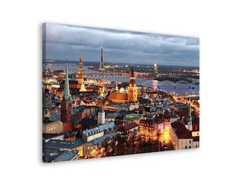 Riga - Framed Urban Wall Art Canvas Print // 6 Sizes - medium to large // Pine-Tree Stretcher // High Quality // Fast & Free shipping to EU