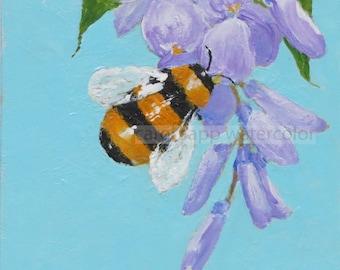 "bumblebee on wisteria original acrylic painting-4"" x 4""-bee art-flower art-bumblebee painting-carol sapp-ready to frame or display on easel"