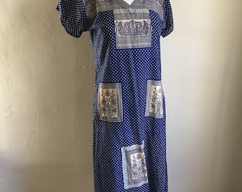 Vintage Indian Blue 70s Hippie Shirt Boho Long Tunic Dress // S to M