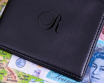 Mens Script Initial Personalised Wallet