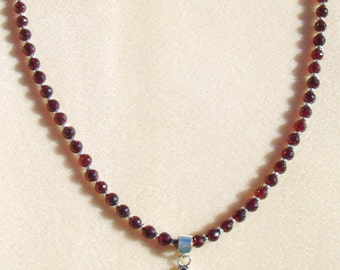 Faceted Garnet Necklace, Garnet Cross Necklace, Cross Pendant, sterling and Garnet Jewelry, January Birthday Gift, OOAK