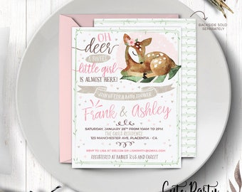 Deer Baby Shower Invitation Oh Deer baby shower decorations Woodland girl baby shower Deer baby shower decorations girls oh deer baby shower