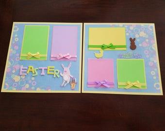 """Easter 2 Page 12""""x12"""" Premade Scrapbook Layout, Easter Bunny Scrapbook Pages, Spring Celebration Scrapbook, Framed Gift, Easter Egg Hunt"""