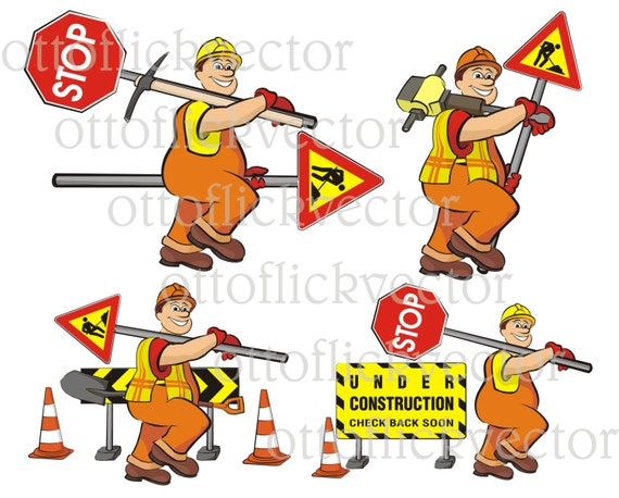 road works vector clipart road worker road signs men at work eps aicdr png jpg smiling cartoon worker funny guy from ottoflickvector on etsy studio