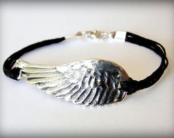 Angel Wing bracelet, Flight, Bird Wing, Sterling Silver Angel Wing, boho jewelry, festival, Valentines Gift, gift for woman