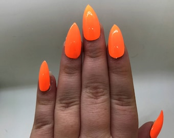 Neon Orange Fake Nails | Press On | Glue On Nails | Different Shapes