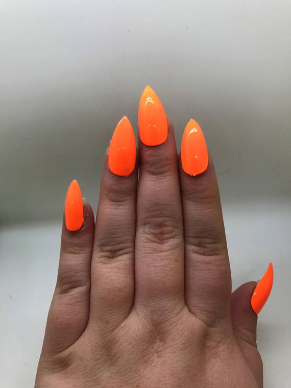 Neon Orange Fake Nails | Press On | Glue On Nails | Different Shapes ...