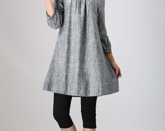 Linen Tunic dress, tunic dress, Grey tunic, Midi Dress, Tunic top, womens tops, linen tunic, linen clothing, plus size, womens tunic 783