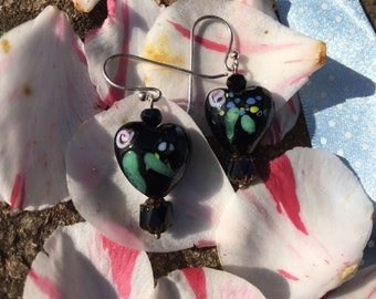 Two Hearts Hand made  Chec Glass  Silver Earrings