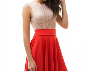 Elegant dress for woman / Guipure cocktail dress / wedding dress / contrast dress / Biege red dress for girls / Prom dress