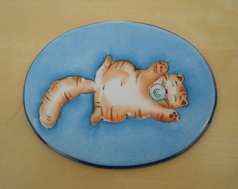 """Porcelain plate """"with kitten pacifier"""""""