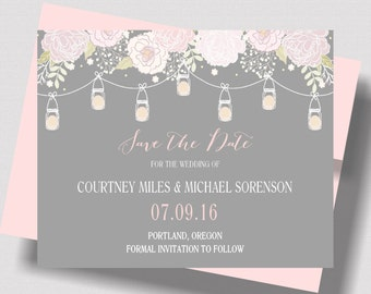 Mason Jar SAVE THE DATE Cards Blush Pink and Gray | Shabby Chic Save the Date Card | Romantic Save the Date Cards | Blush and Gray Rustic
