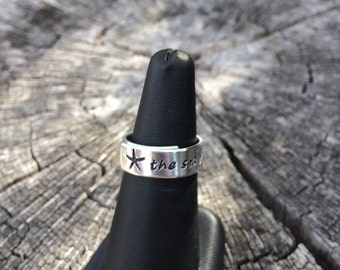 The sea beckons me - hand stamped aluminum adjustable silver band ring