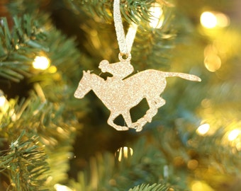Horse Racing Christmas Ornament - Horse Derby - Christmas Ornament - Horse Lover - Horses - Silver - Gold