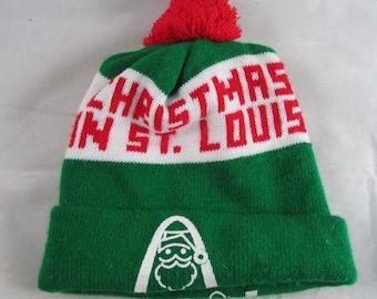Christmas in St Louis Knit Hat Arch Santa Pom Pom Winter Ski Gear USA Made