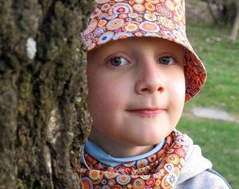 Kids bucket hat from designer print cotton, boys hat, toddler bucket hat, girls sun hat, kids summer hat, lightweight summer hat