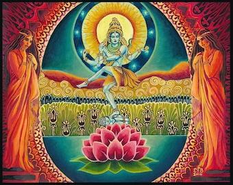 Nataraja Shiva The Cosmic Dancer Original Oil Painting by Emily Balivet Lord of the Dance Goddess Art