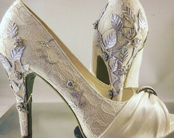 Wedding Bridal shoes silver leaf leaves heels peep toe platform custom embellished diamante sparkle flowers