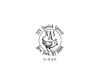 May Sale Birdies Round Monogram Return Address Custom Rubber Stamp Birdie G