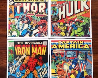 The Avengers VINTAGE comic coasters