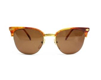 Women wayfarer 80s style STING mod. 29 Honey havana and gold metal, adorned sunglasses, NOS 1980s sunglasses